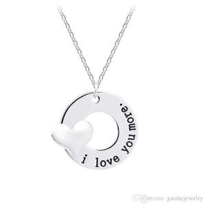 Nueva moda collar colgante en forma de corazón collares de aleación letras te amo más collares envío gratis