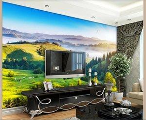 3D 배경 화면 사용자 정의 사진 벽화 아름다운 언덕 목가적 인 풍경 아트 배경 벽화 장식 벽 예술 사진