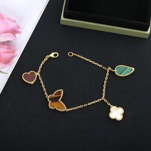 فاخر مصمم النسائية المجوهرات سوار متعددة سوار قلادة على شكل قلب الأوراق فراشة سوار الذهب والمجوهرات هدية