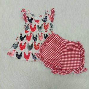 Girls summer sets flutter top cartoon chicken animal print plaid shorts unique design set