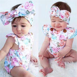 2019 새로운 아기 꽃 Rompers 여름 5 색 Jumpsuits INS 키즈 꽃 비행 머리띠 C1967와 의류를 등반 비행 슬리브