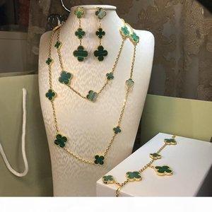 Vendita calda 925 dei quattro fogli fiore dei monili per gli orecchini del braccialetto della collana di nozze donne anello gioielli verde madreperla guscio trifoglio
