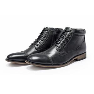 Botas de negocios casual de lujo para hombre zapatos de vestir del diseñador retro de cuero Negro Marrón punta estrecha Zapatos de los hombres de Cowskin con la caja