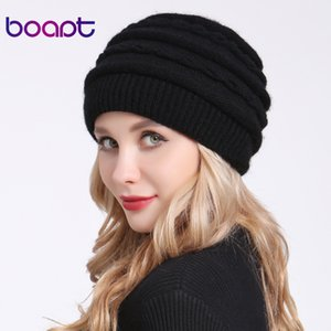 [boapt] Warm Winter Hats For Women's Cap Lady Skullies Beanies Female Hat Double layer Soft Knitted Thick Mom Bonnet Caps