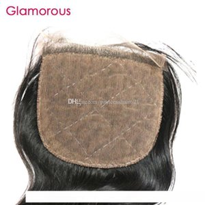 C Гламурные Бразильский Объемная волна волос Silk Base Closure Размер 4x4 Virgin человеческих волос Затворы Малазийский Индийский прямые волосы Free Часть Кло