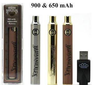 Brass Knuckles Vape Akku 650mAh 900mAh Wiederaufladbare 510 Gewinde, Gold, Holz Vape-Feder mit Kleinsatz Für Brass Knuckles Cartridges