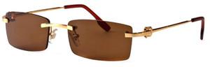 sans monture demi-monture or argent métal jambes en alliage de mode buffalo lunettes pour hommes femmes lunettes de soleil avec boîte originale lentilles claires