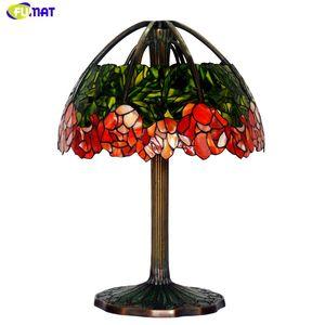 FUMAT Art Glass Lamp Lámpara de mesa de alta calidad Pure Copper Lotus Stained Glass Creativo Para Sala de estar Estudio Oficina Soporte Lámparas