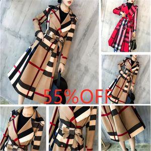 Women's long windbreaker designer fashion checkered elegant sweet mid-length coat female retro slim slim temperament coat windbreaker S-3XL