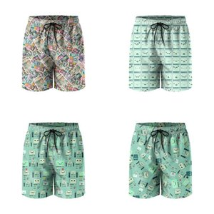Mens Swim Trunks Beemo BMO Video Game Console Computer Comic Gym Shorts Quick dry Board Funny Swimwear Green Lattice Earl of Lemongrab
