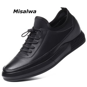 Misalwa 5 CM Height Increase Leather Casual Men Sneakers Men Elevator Shoes Thick Sole Young Men Daily Footwear Spring Autumn CJ191225