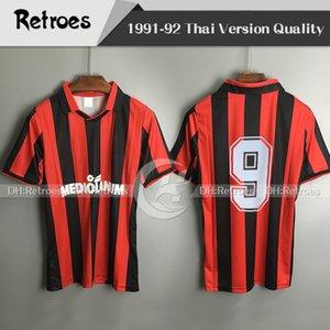91 92 Home Retro Version Soccer Jerseys 1991 1992 Top Qualität Kundenspezifische Nummer Fußballhemden