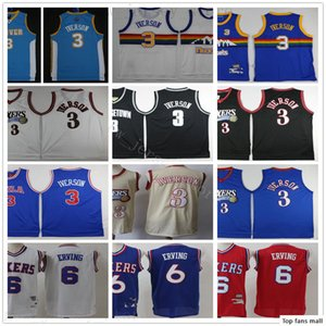 Retro Vintage 76er Basketball Allen 3 Iverson Jerseys Stitched 32 Julius 6 Erving Jerseys Hardwood Black Classic Blue White Sixer Man Kids