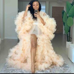 Lüks Ruffles Tül Uzun Kollu Bayan Kış Seksi Kimono Hamile Parti pijamalar Kadın Bornoz Şeffaf Gecelik Robe Shawel