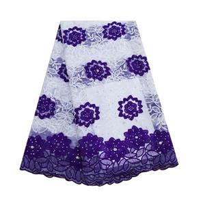amarillo de la tela africana del cordón de la nueva llegada piedras bordados de seda de la leche fritas telas de tul neto de encaje para Aso EBI vestidos de novia