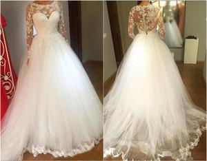 Элегантный длинным рукавом свадебное платье белого тюля свадебное с кружевом аппликациями Jewel шеи См Хотя Vintage невесты платья для женщин