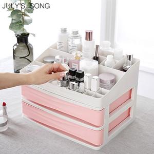 JULY'S SONG En Plastique Cosmétique Tiroir Maquillage Organisateur Boîte De Rangement De Maquillage Conteneur Nail Cercueil Titulaire De Bureau Divers De Stockage Cas D19011201