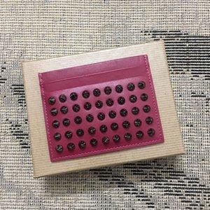 2020 Venda quente CL Folder Card Cinzento-Violeta Pacote de Couro Nail Homens Rivet Titular Preto e Preto Pérola Cartão De Visita Suporte Nail Cor Idcnq
