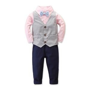 2019 Autumn Baby Boys Gentleman Clothes Set Kids Bowtie Shirt + Waistcoat + Pants Boy Children 3pcs Outfits Set 15317