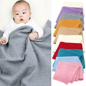 Bambino appena nato cotone coperta morbida biancheria da letto Stuff lavorato a maglia solido Swaddle Wrap infantile del bambino Crochet puntello della foto Sacco a pelo