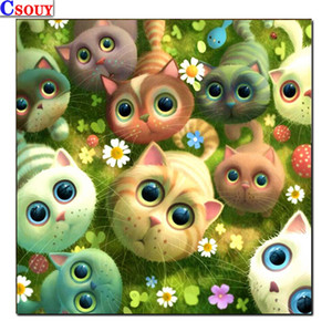 5D Diy Diamond Mosaic Cartoon Cat Diamond Painting Drawing Full Square Round Drill Diamond Embroidery Cross Stitch Decor Animals