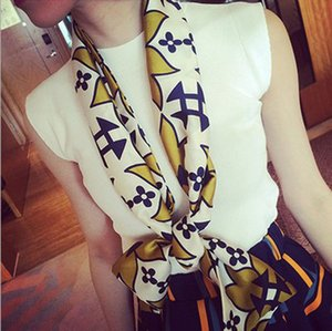 The new satin scarf stylish and versatile double silk business professional small long scarf FA011