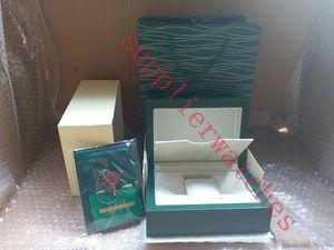 Super qualidade top marca de luxo relógio verde original caixa de papel presente mens relógios caixas de saco de cartão de couro 0.8 kg para rolex caixa de relógio com saco