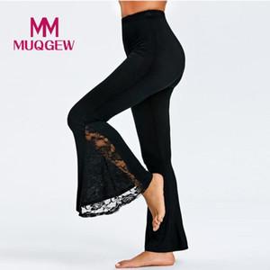 Lace шить высокую талию расклешенных брюк женщин сексуальной высокой талия Леггинсы Брюки Lace Панельного Повседневного Flare Брюки