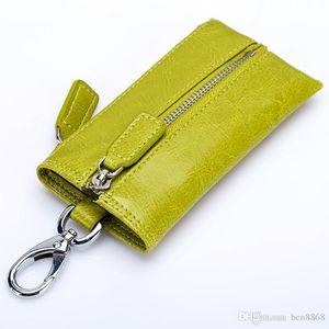 Hot Selling ! Unisex Genuine Leather Key Wallets Men Car Key Purse Fashion Women Housekeeper Keys Organizer Wallet With Zipper