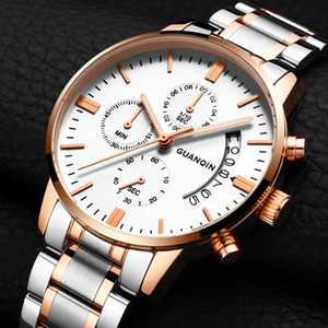 GUANQIN Mens Watches Top Brand Luxury Business Quartz Watch Men Sport Waterproof Full Steel Male Wristwatch relogio masculino