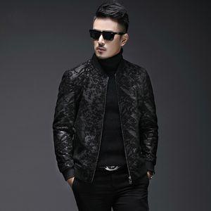 2019 otoño nuevo chaqueta de piel de piel de oveja hombres delgado collar de béisbol corto chaqueta de cuero real de la ropa de hombre genuino 5xl