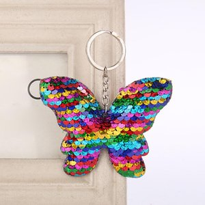 20pcs Sequin Butterfly Key Chains Keyring Glitter Sequins Crafts Pendant Party Gift Car Decor Girl Bag Ornaments Kids Toy Keychain Ring