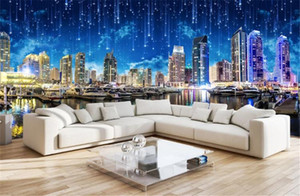Photo faite sur commande 3d Fernande Ultra HD Night City Night City Paysage Panorama fond TV mur 3d humidité Fond d'écran