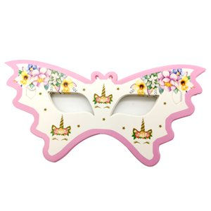 Happy Birthday Events Party Girls Kids Favors Wedding Eye Cover Unicorn Theme Decoration Baby Shower Paperboard Masks 10PCS PACK