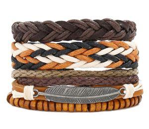 100% genuine leather bracelet alloy leaf wax rope Beading adjustable bracelet Men's Combination suit Bracelet 3style 1set