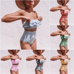 Schulterstreifen hohe Taille Bikini Frauen aufgeteilter Badeanzug mit unregelmäßigen Streifen Rüsche hoher Taille Bikini 3 Größe