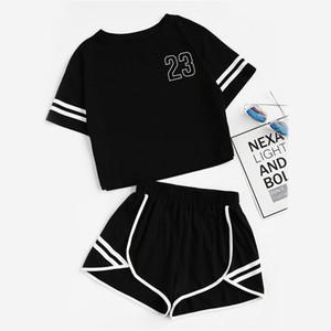 Pop2019 Xiuxian Xia Woman Stripe Letter Navel Shorts Shorts