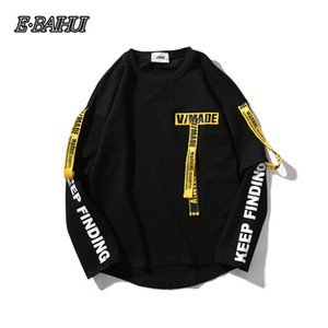 E-BAIHUI T-Shirt Uomo 3d Camicia Stampa Lettera Nastro Harajuku Cotone Manica lunga Punk T Shirt Moda Casual Top Tees GP6701