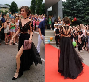 Bateau See Though Back Black Prom Party Dresses Sexy Long 2020 Two Piece Lace Sequin Homecoming Dress With Sleeve s Evening Gowns Cheap