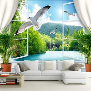Dropship Chinese Style Cascade Lac Dove Photo Wallpaper Extension personnalité peint Papier peint Murales De Pared 3D
