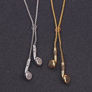 Мода ювелирные изделия Мужчины ожерелье Hip Hop наушники Подвеска Ожерелья Классные подарки Mens Long Chain золото серебро цвет