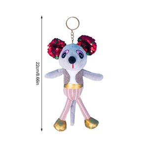 New Plush Sequins Mouse Doll Toy Keychain, Bag Pendant Cute Elf Mouse Soft Plush Fabric PP Cotton Filling Year Of The Rat Mascot