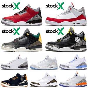 Nike Air Jordan Retro 3 3sVenta al por mayor UNC Top Jumpman Brand Cement rojo Animal Instinct 2.0 PIT CREW Hombres Zapatillas de deporte Zapatillas de baloncesto Sport Sneakers
