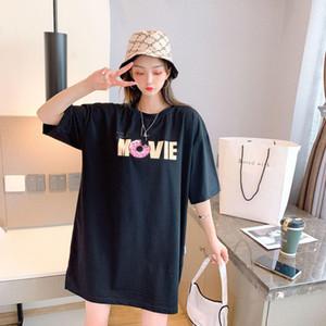Sumeer 2020 Yeni Bayan Tişört Yuvarlak Yaka Pamuk İnce Sürümü Trend Klasik Üç renkli baskı Kadınlar Casual olmazsa olmaz Vahşi T-shirt