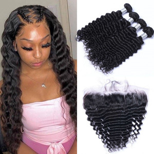 Mongolian Hair Deep Wave Lace Frontal Closure with 4 Bundles 10-26 inch Unprocessed Human Hair Weave Bundles with Frontal