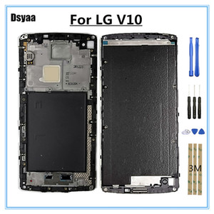 5.7 Polegada para LG V10 Meio Quadro Frente Faceplate Bezel Habitação LCD Quadro Tampa Caso Peças de Reparo Frete Grátis