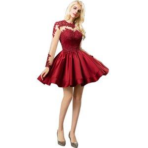 À manches longues de cocktail Robe en satin Mini Aline courte robe de bal à manches fond de verre avec appliques Celebrity Robes