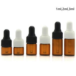 1000pc 1ml 2ml 3ml verre ambré Dropper bouteilles Essential bouteille d'huile Petit parfum Fioles Bouteille d'échantillonnage de stockage RRA1981