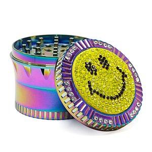 Cara do sorriso Herb Grinder Ice Blue 63 milímetros Diâmetro Dial Com Broca 4 camadas de liga de zinco Herb Grinder 100 PCS Carton