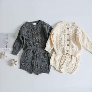 INS DERNIES ENFANTS Filles Boys Girls Sweaters Clothernes Ensembles Oblique Boutons à manches longues Cardigans Cardigans Short 2pieces Cuissures